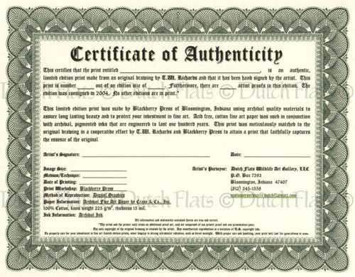 Certificate of authenticity for Certificate of authenticity autograph template